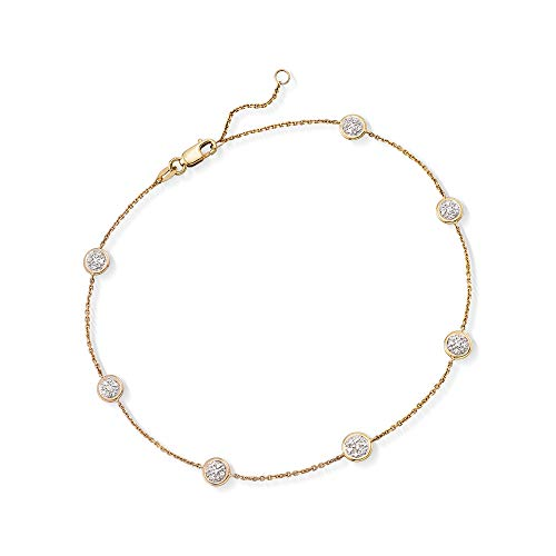 Ross-Simons 0.25 ct. t.w. Pave Diamond Station Anklet in 14kt Yellow Gold For Women 9 Inch