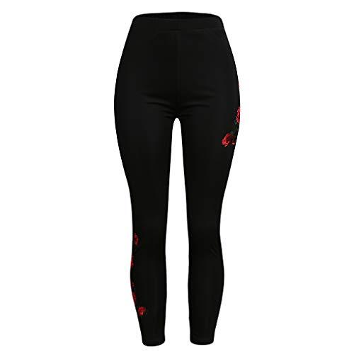 Lazzboy Womens Fashion Solid Appliques Hohe Taille Plus Size Top Hosen Damen Leggings Sport Strumpfhose Fitness Yoga Joggen Pants Stretch Print Motive Muster Legins Hose(Schwarz,5XL)