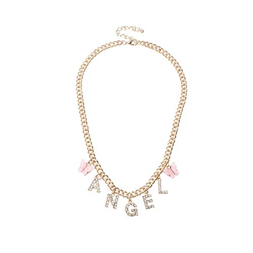 Butterfly Sexy Necklace Harajuku Letter Crystal Angel Necklace Women Baby Honey Letter Punk Choker Necklace -Pink