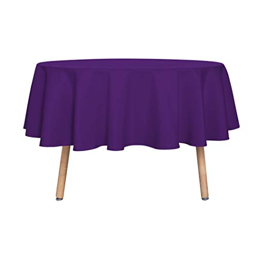 sancua Round Tablecloth - 70 Inch - Water Resistant Spill Proof Washable Polyester Table Cloth Decorative Fabric Table Cover for Dining Table, Buffet Parties and Camping, Purple