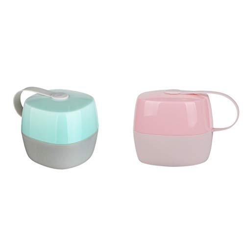 Healifty Caja de chupete infantil para bebé 2pcs Nipple Shield Estuche de chupete para uso en exteriores (Rosa verde)