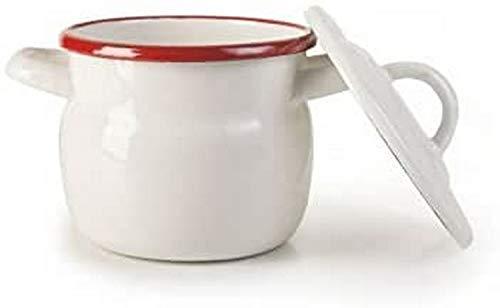 IBILI in Acciaio smaltato Mini pentola, Bianco/Rosso, 0.5Litri