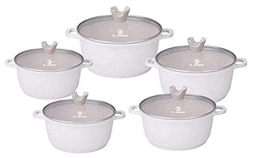 stockpots (Cream 5pc) Aluminium 5pc Marble Coated Die cast Casserole, Cooking Pots