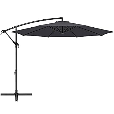 Best Choice Products 10ft Offset Hanging Outdoor Market Patio Umbrella w/Easy Tilt Adjustment - Gray