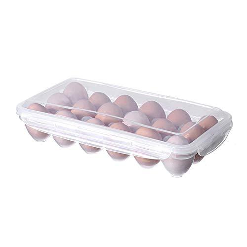 Primlisa Huevos, armario refrigerador, contenedor de huevos con tapa, de plástico, portátil, apilable, 10/18 huevos