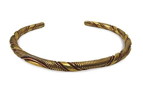 Schmuck Armreif aus Metall Kupfer, Messing, Weißmetall gewellt, 3-Metall Armband Armschmuck Armreifen handgefertigt