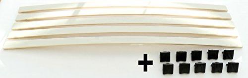 BOSSASHOP.de Set: Federholzleisten + Befestigungs Kappen zur Selbstmontage für Futon, Bett oder Caravan | Stärke/Höhe 8mm x Breite 35mm (10 Kappen 1001 + 5 Leisten (Länge 800mm))