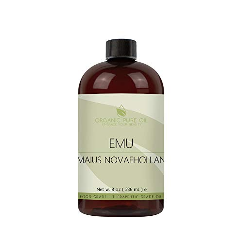 Australian Emu Oil - 7 Times Refined - 100% Pure, Rendered, All Natural, Organic - 8 oz - Premium Pharmaceutical Grade A for Hair Face Body Pain Relief Joint Pain Muscle Hair Growth Beard Nail Cuticles by Organic Pure Oil