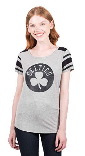 Ultra Game NBA Boston Celtics Womens Box Out Varsity Stripe Tee Shirt, Heather Gray, Large