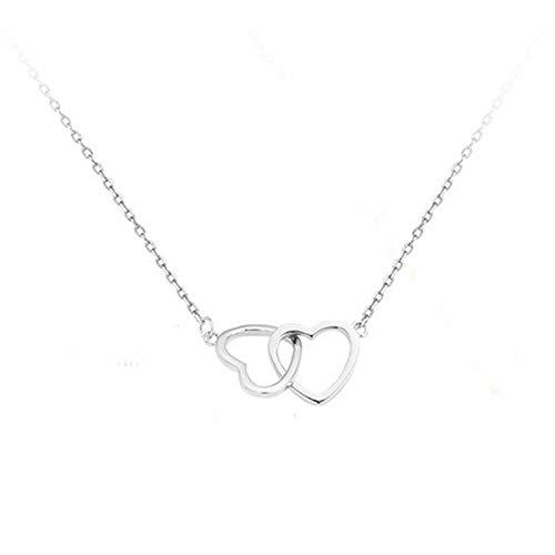 XIAOSHEN Collar de corazón de Doble corazón Hueco Collar geométrico de clavícula de Amor Plata