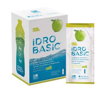 IDROBASIC di Biohealth Italia - Integratore Alimentare di Minerali Alcalinizzanti Dolcificato con Stevia, Gusto Mela - Confezione da 15 bustine