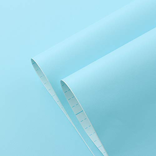 """Blue Wallpaper Peel and Stick Wallpaper Blue Contact Paper Solid Color Wall Paper Covered Self Adhesive Wallpaper Removable Blue Shelf Liner Drawer Liner Vinyl Film 17.7""""x78.7"""""""