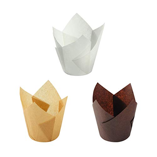 Pirottini per muffin, 150 pezzi di carta da forno a tulipano, pirottini per muffin, muffin, muffin, pirottini per tulipani, per matrimoni, feste di compleanno (5,1 cm) monocromatici