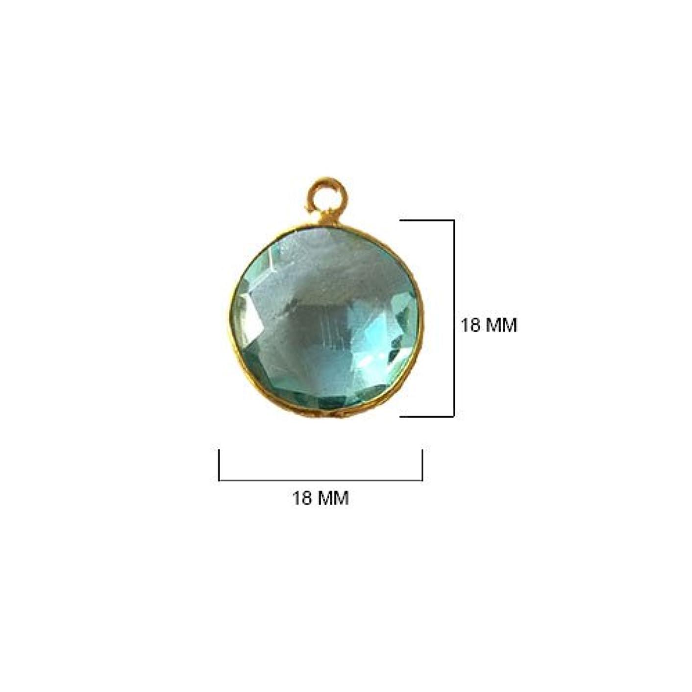 2 Pcs Aquamarine Coin Beads 18mm 24K Gold Vermeil by BESTINBEADS, Aquamarine Hydro Quartz Coin Pendant Bezel Gemstone Connectors Over 925 Sterling Silver Bezel Jewelry Making Supplies