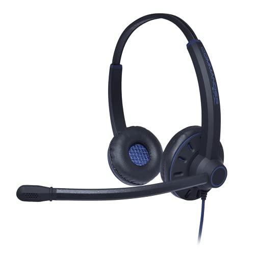 JPL -Commander-PB Professional Binaural con Cable de Auriculares con Sistema de desconexión rápida y micrófono de cancelación de Ruido Surround Shield - Negro