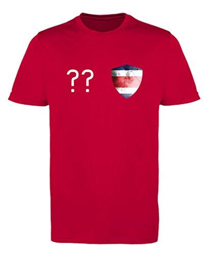 Comedy Shirts - Costa Rica Trikot - Wappen: Klein - Wunsch - Mädchen Trikot - Rot/Weiss Gr. 98-104