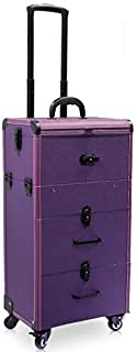 Nail Makeup Trolley Case Large Capacity with Key Lock with Drawer Cosmetic Box Suitcase Scroll Multilayer Beauty Salon Tattoo Trolley Suitcase - Black (Color : Purple)