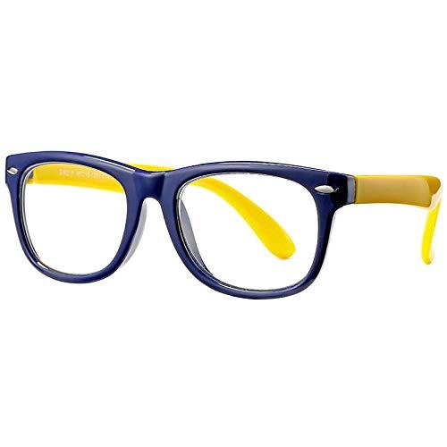 xzczxc Kids Blue Light Blocking Glasses Unbreakable Flexible Computer Gaming Eyeglasses Age 3-12 C2Darkblueyellow
