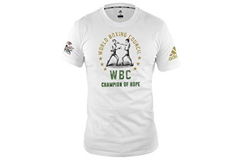 adidas Boxing T-Shirt Men Women Top Gym Training Fitness Workout WBC tee Camiseta de Boxeo para Hombre y Mujer, Blanco, XL