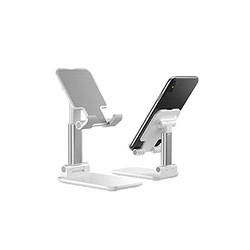 tobeNtech Adjustable Phone/Tablet Stand- Foldable Portable Stable Sturdy Aluminum Metal Desktop Tablet Phone Holder - Compatible with 4-12 inch Samsung Galaxy, iPad, iPhone, All Mobile Phone (White)