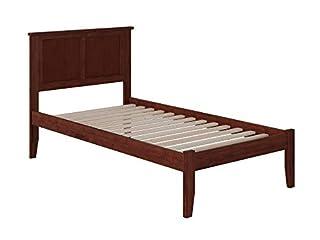 Atlantic Furniture Madison Platform Bed with Open Foot Board, Twin XL, Walnut
