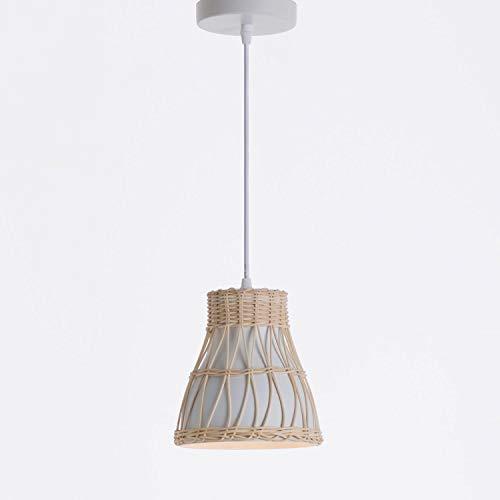 Lámpara de Techo Colgante Blanca Estilo Oriental con Tulipa Cónica | Modelo Kumiko 7hSevenOn Deco | Lámpara de Techo Salón y Dormitorio | Lámpara de Ratán y Aluminio 18x18x18,5cm