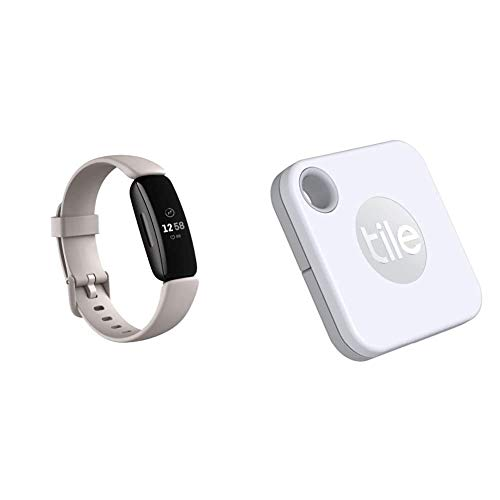 Fitbit Inspire2 Fitness Tracker, Lunar White + Tile Mate (2020), Battery Replacement Edition, Find Your Phone You Are Looking for
