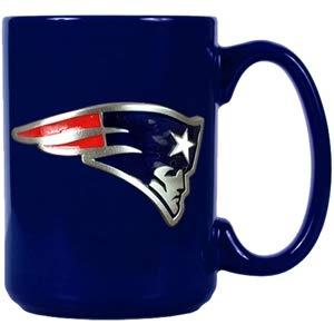 New England Patriots Offizielle NFL Tasse, Becher mit Metall-Logo 400 ml