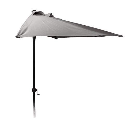 Halbrunder Wand Sonnenschirm - 250cm / grau - Wandschirm halbrund Balkon Schirm