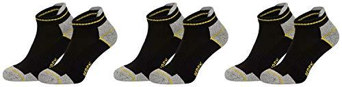 Piarini 6 Paar Arbeitssocken Funktionssocken - Sneaker-Socken Füßlinge - verstärkte Ferse und Spitze - schwarz 43-46