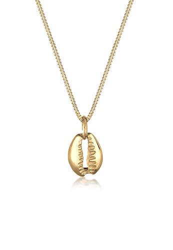 Elli Halskette Dame mit Anhänger Muschel Maritim Meer in 925 Sterling Silber vergoldet