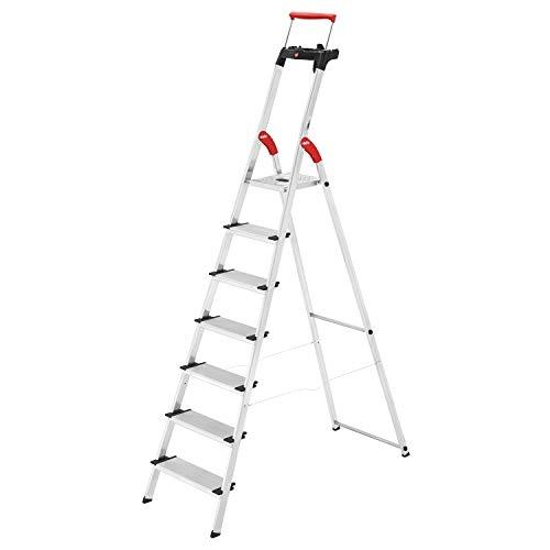Hailo L85 ComfortLine Alu-Sicherheits-Stehleiter | 7 XXL-Stufen belastbar bis 150 kg | tiefe Standfläche & Haltegriff | Stehleiter mit Ablage | Aluleiter made in Germany | Leiter rostfrei | silber