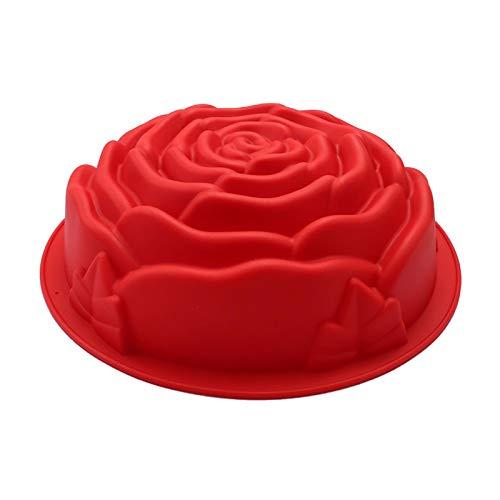Molde de Silicona Flor Rosa 3D Molde Creativo de Decoración de Fondant Molde Flores DIY Chocolate para la Fiesta de Cumpleaños Del Día de San Valentín Herramientas Decorativas para Hornear - Rojo