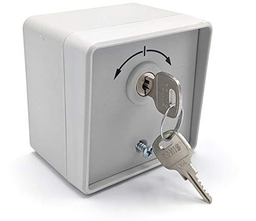 geba Schlüsselschalter Schlüsseltaster Aufputz + Unterputz mit Rundzylinder IP54 2-Taster Garagentor