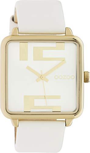 Oozoo Damenuhr Quadratisch mit Lederband 35 x 35 MM Gold/Silber/Hellgrau C10360