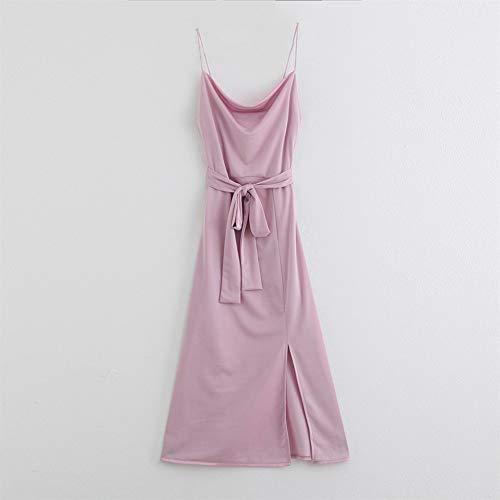 FEIFUSHIDIAN Skin 2020 Elegante vestido de satén morado de verano afrodisíaco sin frutos vestido de fiesta mujer lazo cinturón dividido vestido de toque (color: 1, talla: L)