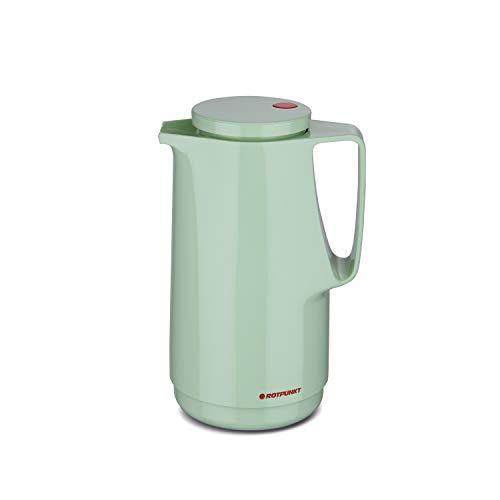 ROTPUNKT Isolierkanne 760 Maxima 1,0 l | Zweifunktions-Drehverschluss | BPA-frei - gesundes Trinken | Made in Germany | Warm + Kalthaltung | Glaseinsatz | Pistacchio Cream