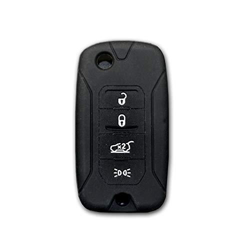 car passion Coque de clé pour Jeep Renegade Cherokee Caoutchouc de silicone 4 boutons Noir