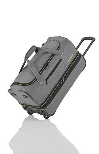 travelite 2-Rad Trolley Reisetasche Gr. S mit Dehnfalte, Gepäck Serie BASICS: Weichgepäck Reisetasche mit Rollen mit extra viel Volumen, 096275-04, 55 cm, 51 Liter (erweiterbar auf 64 Liter), grau