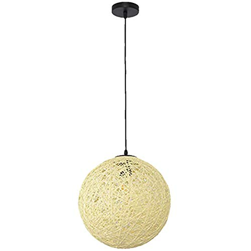 Luz Colgante Rattan Globe,E26 Colorido Iluminación Colgante Accesorio Para Restaurante Isla De La Cocina,Creativa Moderno Lámpara Pendiente Para Dormitorio-C Diameter30cm(12inch)