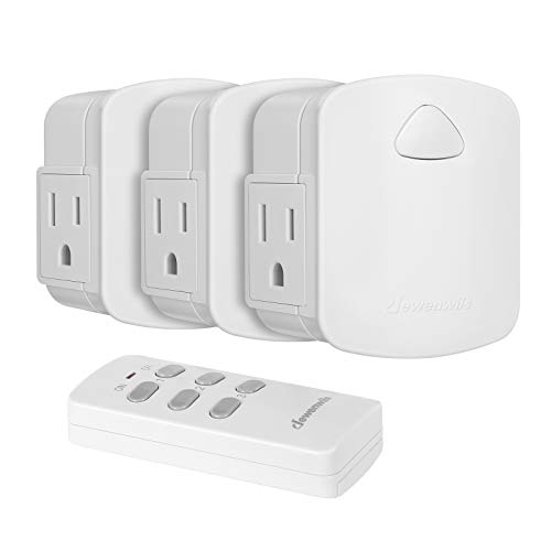 Dewenwils Indoor Wireless Remote Control Outlet, Electrical Plug in Remote Light Switch Kit, 15 AMP Heavy Duty, 100' RF Range, Compact Side Plug (Programmable Learning Code, 3 Outlets)