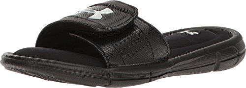 Under Armour Boys' Ignite V Slide Sandal, Black (001)/White, 6