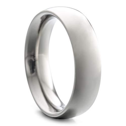 Heideman Ring Damen und Herren Paari aus Edelstahl silber farben poliert oder matt Damenring für Frauen und Männer Partnerringe 6mm breit schmaler gewölbter Ring silberfarben poliert Gr.64 hr7027-3-64
