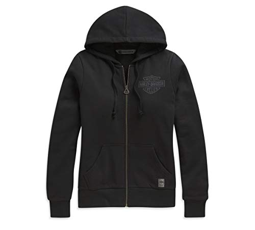 Harley-Davidson Women's Upright Eagle Graphic Full-Zip Hoodie (Black, X-Small)