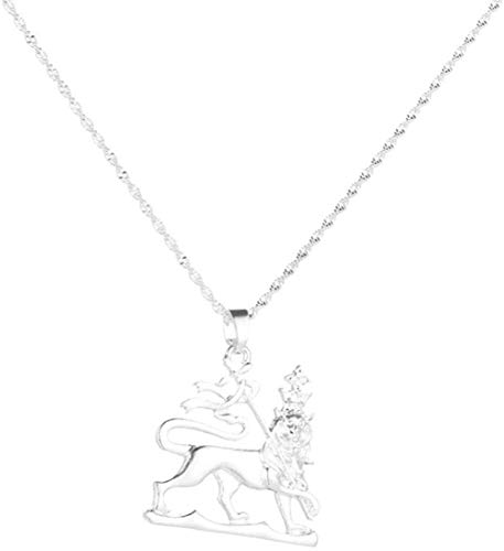 LBBYMX Co.,ltd Collar Etiopía Plata Color león Colgante Collares Mujeres Africa Etiopía Moda león Cadena joyería Collar