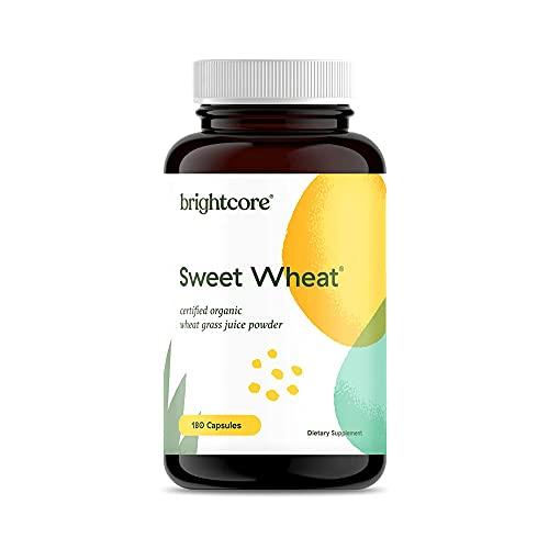 Brightcore Sweet Wheat Organic Wheat Grass Juice Powder, 180 Capsules