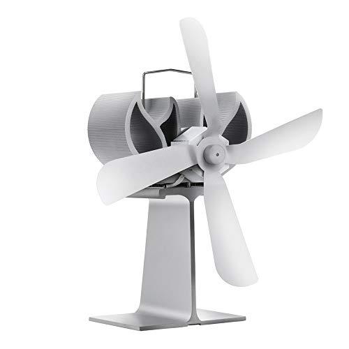 XIAOKUKU Wärme-Powered Kamin Fan Silent Log Burner Fan, 4-Blatt Self-Powered Kamin Fan schnell und gleichmäßig Verteilt Log Brennende Hitze, mit Temperaturregelung, Stumm hohe Temperaturbeständigkeit