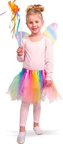 Folat 21846 21846-Regenbogen-Fee Kostüm-Rock mit Flügeln und Zauberstab, Einheitsgröße Kinder, Mehrfarbig, Fits All