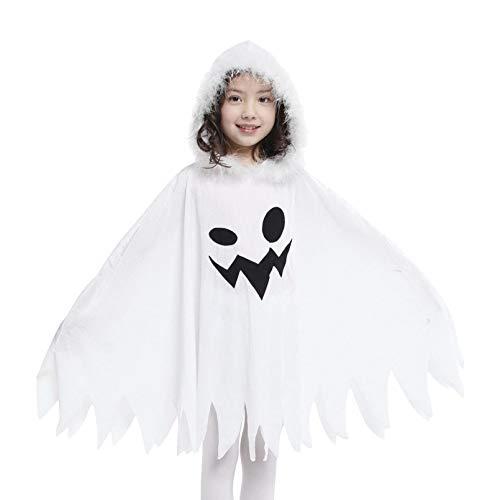 Cloudkids Capa con Capucha Disfraz de Halloween para Niñas Niños,Elfo Capa de Princesa Disfraz de Bruja para Halloween Fiesta para Infantiles Niñas, Color Blanco (3-4 años)