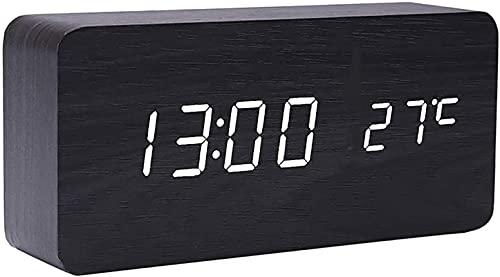 dh-10 Reloj despertador digital LED, de madera, silencioso, con alarma múltiple y 5 niveles de brillo, pantalla de dígitos blancos grandes, repetición, no se garra, red